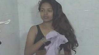 Cute girl taking naked shower