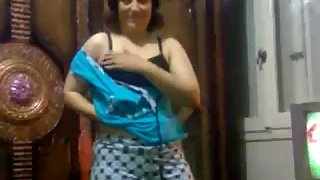Chubby Indian wife stripping naked and showing her big boobs