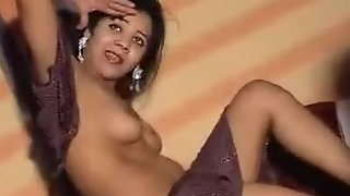 Sexy girl dancing naked in her bedroom