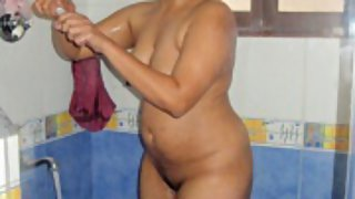 Indian amateur in shower naked soaping