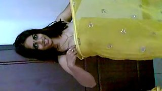 Hot Indian wife in hot yellow saree
