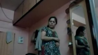 Indian wife caught on hidden cam changing in bedroom