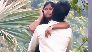 Indian couple romance in public park