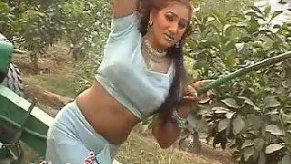 Mature tawaif dancing in garden